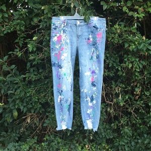 New York and Co Soho Paint Splattered Jeans